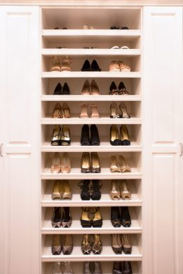 Organized Shoes in Master Closet