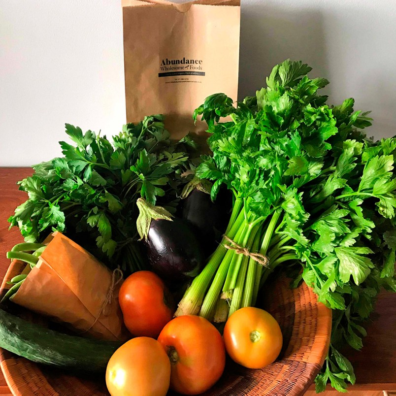 Fresh Organic Large Mixed Herbs and Vegetables Basket