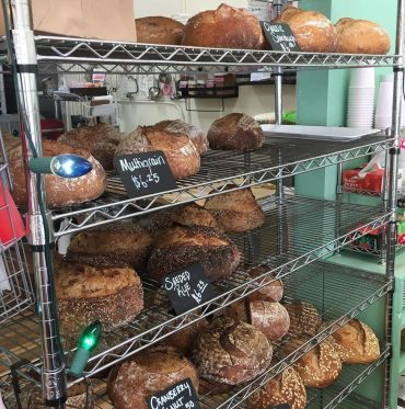 rack with several kinds of bread