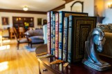 books in large historic sitting room