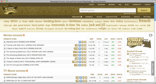 موقع KICKASSTORRENTS