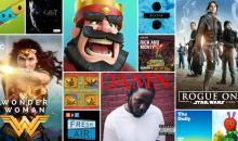 آبل تعلن عن قائمة أكثر التطبيقات، الأفلام، الأغاني… شعبية لسنة 2017