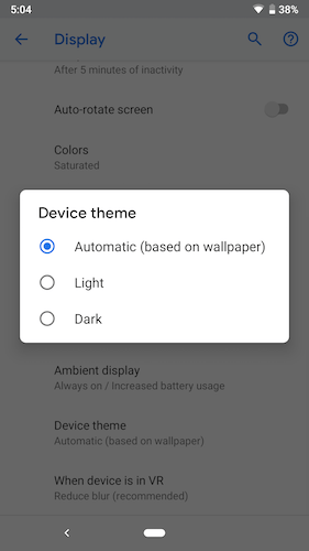 Dark Mode Android P