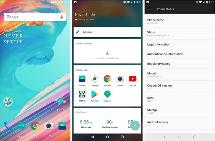 OnePlus 5T OxygenOS Software