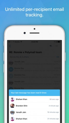 Polymail app iOS - email tracking