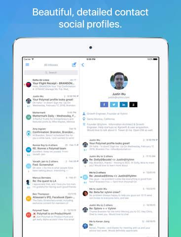 Polymail app iOS - iPad experience