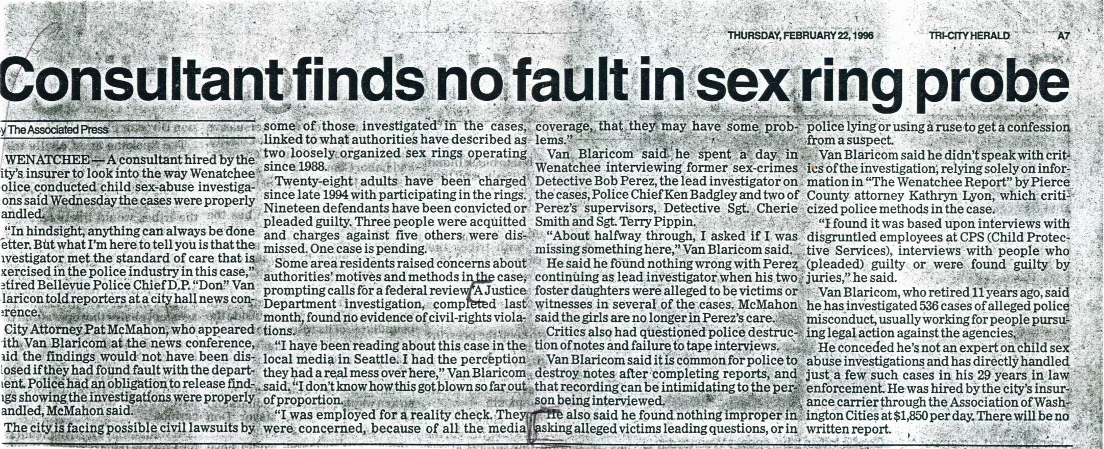 Consultant Finds No Fault in Sex Ring Probe