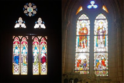 Há enormes e coloridos vitrais por toda a catedral.