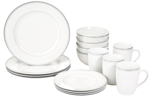 9. AmazonBasics 16-Piece Cafe Stripe Dinnerware Set