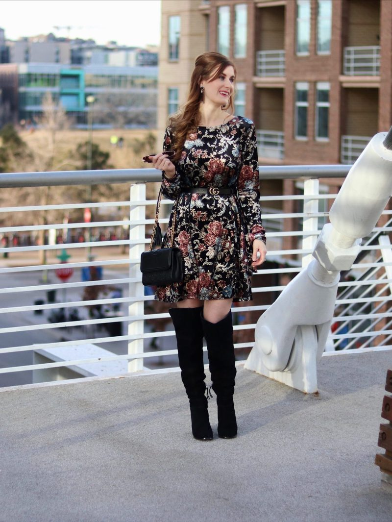 Flower Print Swing Velvet Dress | Shein Flower Print Swing Velvet Dress| Velvet Dress | Floral for winter | what to wear on date night in denver | denver date night ideas | denver | date night outfit