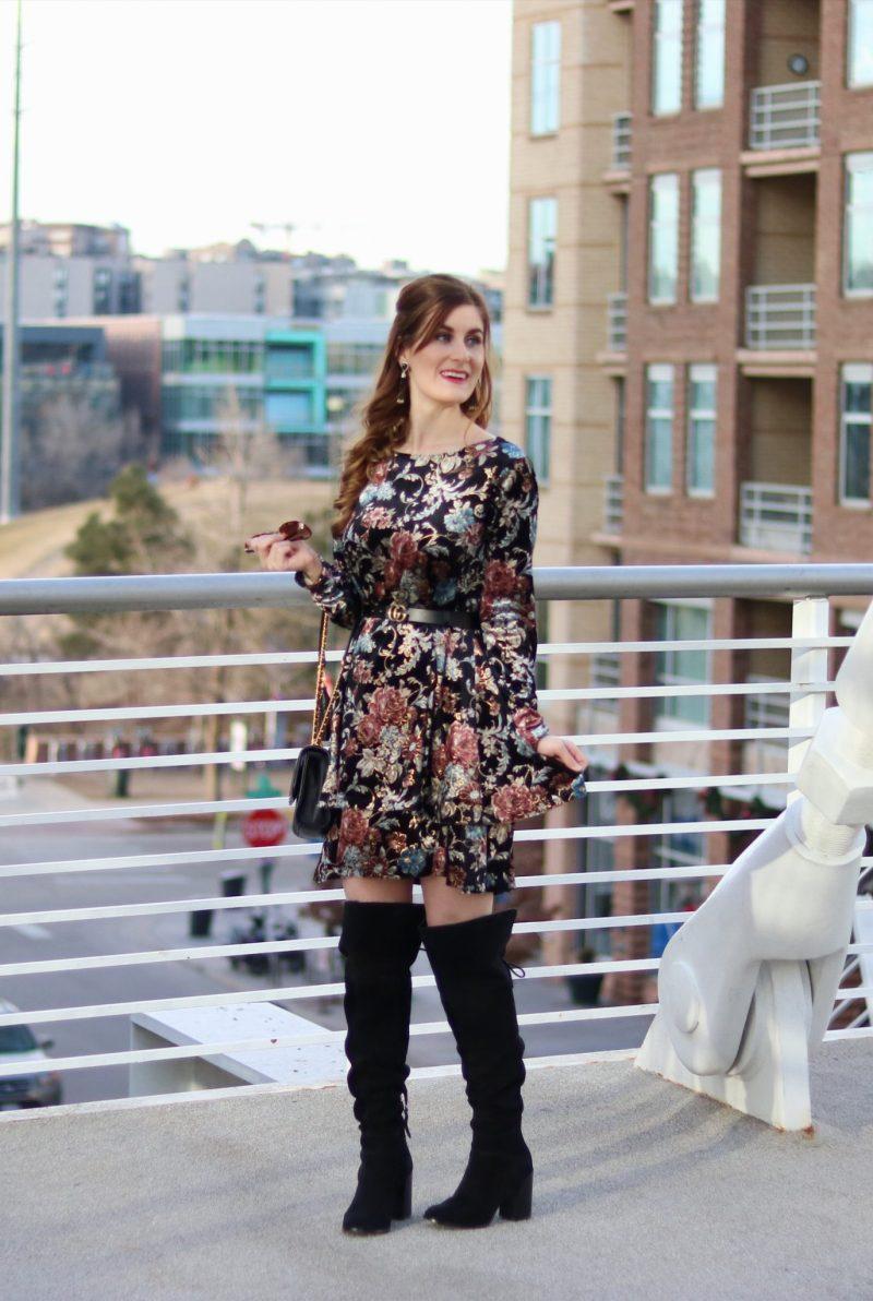 Flower Print Swing Velvet Dress | Shein Flower Print Swing Velvet Dress| Velvet Dress | Floral for winter | what to wear on date night in denver | denver date night ideas | denver | date night outfit
