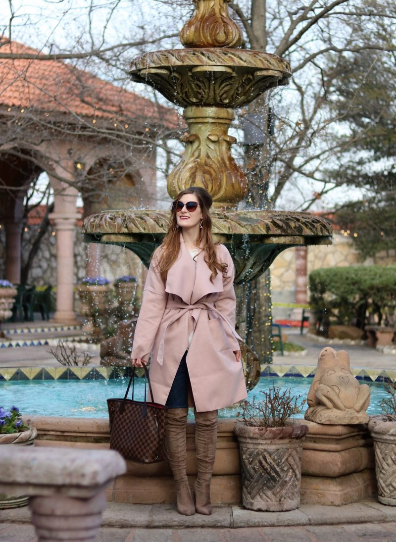 SHEIN Drop Shoulder Drape Collar Wrap Coat | 2018 spring fashion | how to transition into spring | transitional spring outfit | blush pink outfit