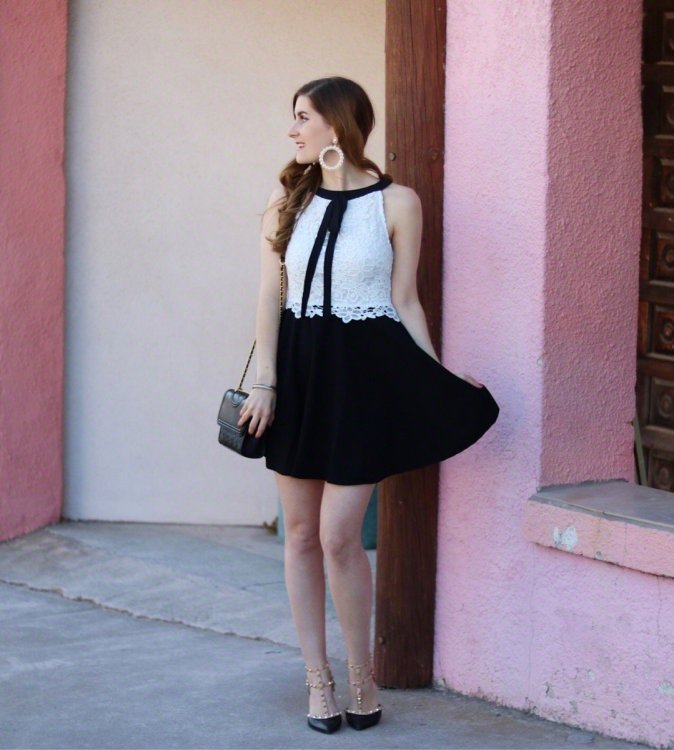 Contrast Lace Tied Neck Fitted & Flared Dress | preppy outfit | romwe | valentines day outfit