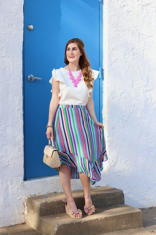 Target Women's Striped Handkerchief Hem Skirt| stripe skirt outfit summer | colorful skirt | colorful skirt outfits | colorful skirt outfits pattern
