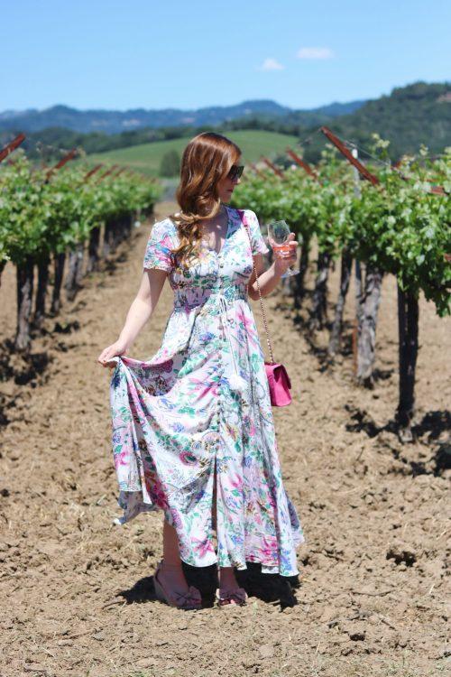 Napa | napa valley outfit| napa valley outfit summer | Napa valley guide | napa valley outfit wine tasting | things to do in napa | Napa on a budget | napa restaurants | SHEINButton Split Front Flare Maxi Dress