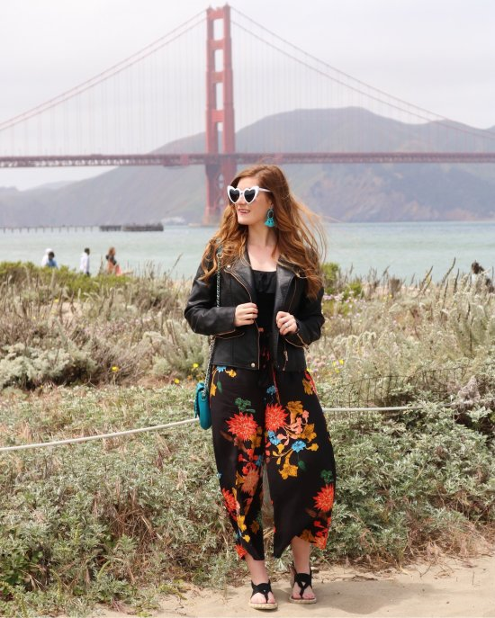 Shein Frilled Waist Floral Wide Leg Pants | Frilled Waist Floral Wide Leg Pants | san francisco | san francisco guide | san francisco things to do in | san francisco things to do in golden gate bridge| san francisco style| san francisco style summer| san francisco style fall