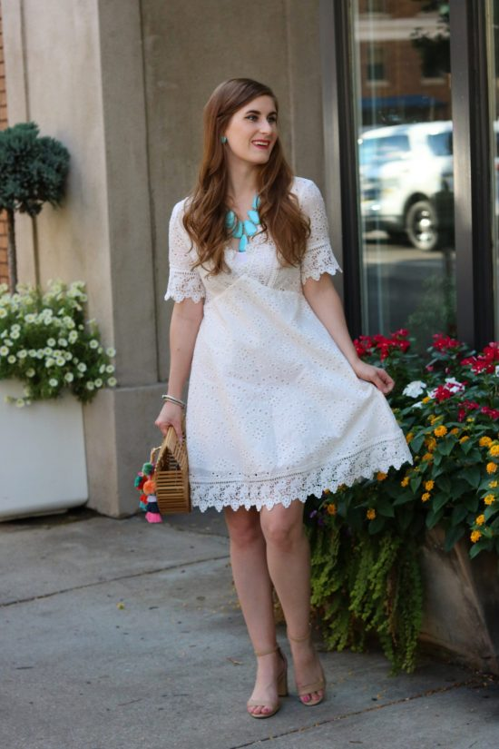 Lace Trim Eyelet Embroidered Dress | Shein Lace Trim Eyelet Embroidered Dress | white eyelet dress | white eyelet dress outfit | white eyelet dress summer | casual summer dress | casual summer dress modest | summer date night outfit | summer date night outfit classy | summer date night outfit casual | Miuco Womens Bamboo Handbag Handmade Large Tote Bag | how to get out of a rut | advice to get out of rut | self help for women