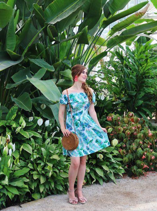 Birmingham Botanical Gardens   palm leaf dress outfit   Birmingham, Alabama   what to do in Birmingham, Al   Birmingham, al botanical gardens   summer outfit ideas   summer date ideas   Birmingham, Alabama date ideas