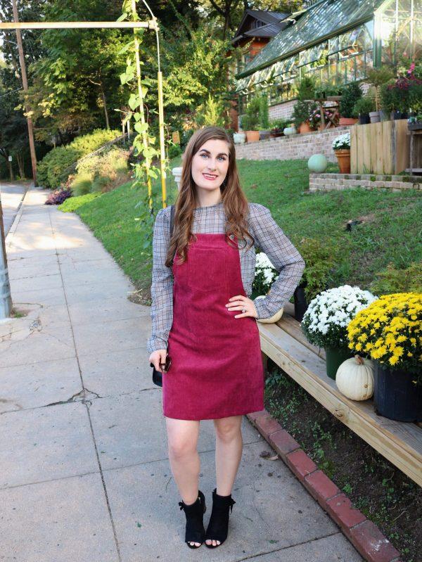 Bib Pocket Front Overall Dress   Shein Bib Pocket Front Overall Dress   Overall dress  how to style an overall dress   overall dress and plaid   overall dress outfit   overall dress outfit fall   overall dress outfit corduroy