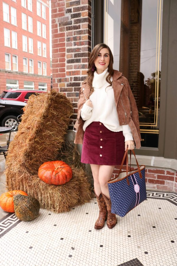 pioneer woman mercantile   pioneer woman mercantile guide   pioneer woman mercantile store   fall outfit   Burgundy skirt outfit   Burgundy and white outfit   red and white outfit   red skirt outfit fall   cowboy boots outfit fall   cowgirl boots outfit fall   sweater and skirt   cowboy boots outfit   Barrington st. Annes tote