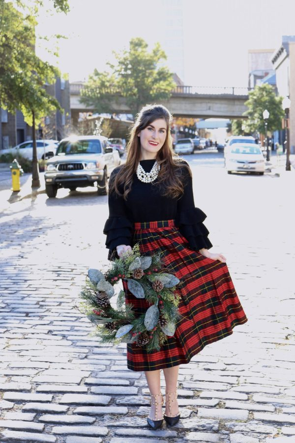 Tartan Plaid: A Classic Christmas Print | tartan plaid | tartan plaid Christmas | tartan plaid fabric | tartan plaid dress | tartan plaid midi | black and tartan plaid | tartan plaid outfit street styles | tartan plaid festive | modest Christmas outfit | what to wear to Christmas church | what to wear to work Christmas party