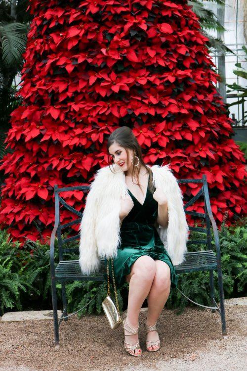 Fluffy Faux Fur Coat   BB Dakota Night Fever Velvet Wrap Dress   green velvet dress   Christmas party outfit   green velvet dress and white fur   how to style a velvet dress   what to wear to a Christmas party  what to wear to a holiday party   glam Christmas outfit