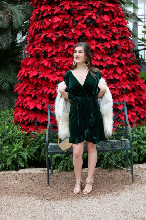 Fluffy Faux Fur Coat | BB Dakota Night Fever Velvet Wrap Dress | green velvet dress | Christmas party outfit | green velvet dress and white fur | how to style a velvet dress | what to wear to a Christmas party| what to wear to a holiday party | glam Christmas outfit