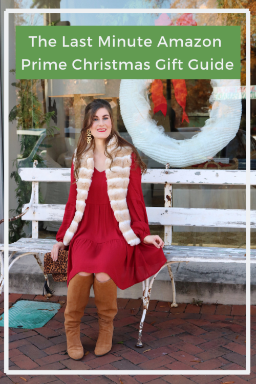 The Last Minute Amazon Prime Christmas Gift Guide 2018 | christmas gift guide 2018 | christmas gift guide for her |christmas gift guide for him | amazon things to buy on | amazon things to buy on for home | amazon things to buy on for her | amazon things to buy on for him | amazon things to buy on gifts | amazon gifts | red dress and fur vest | red dress, tan boots and tan vest