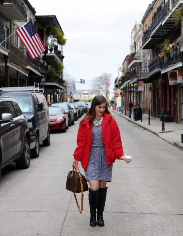 Faux Shearling Pocket Decoration Teddy Jacket | teddy bear jacket | teddy bear jacket outfit | red teddy bear jacket | teddy coat | teddy bear jacket and boots | teddy bear jacket and dress | teddy bear jacket dressed up | casual Christmas outfit women | Christmas outfit ideas | New Orleans guide | New Orleans fashion | New Orleans French quarter