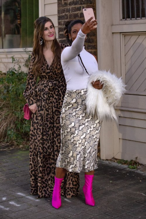 Surplice Neck Leopard Print Overlap Dress | SHEIN Surplice Neck Leopard Print Overlap Dress | Leopard and pink | leopard maxi dress and leather jacket | leopard dress outfit | leopard dress street style | leopard dress winter