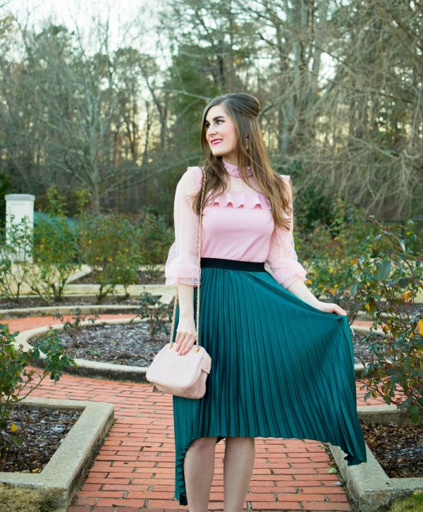 Elastic Waist Asymmetrical Skirt   Dot Mesh Panel Pearl Detail Ruffle Top   Lisi Lerch Margo - Pearl   Mixing pink and green   colorblocking outfits   pink and green outfit   pink and green outfit spring   pink and green outfit preppy   preppy outfits   preppy outfits spring