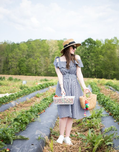 strawberry recipes | strawberry desserts | strawberry picking | strawberry picking photography | strawberry picking outfit | strawberry picking pictures | strawberry picking photoshoot | strawberry picking recipes | strawberry picking couple | strawberry picking alabama | SHEIN Open Shoulder Flounce Flare Dress