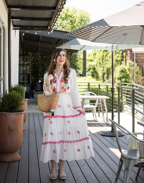 Chicwish Stay Romance Embroidered Maxi Dress | Chicwish Rainbow Candies Stripes Maxi Dress | What to wear for Cinco De Mayo | Spring dresses | bamboo bag