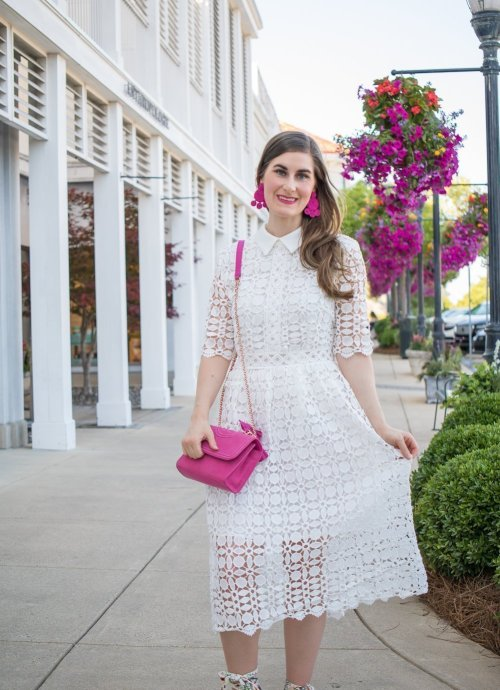 Chicwish Splendid Crochet White Dress | 3 ways to style a little white dress | how to dress up a little white dress | white to make a little white dress casual | adding color to a little white dress |white dress outfit | white dress | white dress with hot pink | dressy white dress