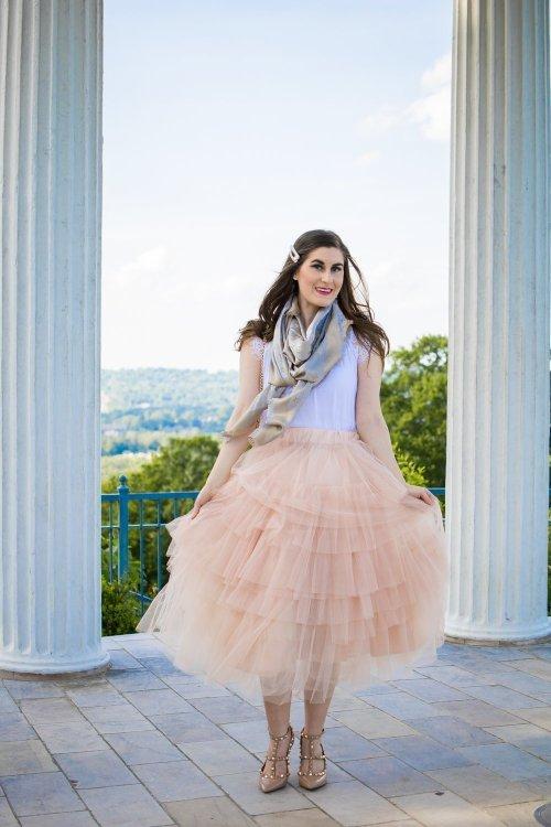 louis vuitton MONOGRAM SHINE SHAWL   Love Me More Layered Tulle Skirt in Nude Pink   Tulle skirt outfit   blush pink skirt and white   tulle skirt and scarf   Paris inspired fashion