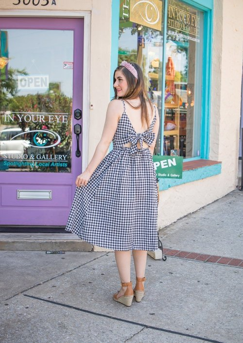 Quest for Love Gingham Cami Dress | Pink pearl Headband | black and white Gingham dress and pink | preppy fashion |