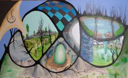 Surrealisme, drageæg, akrylmaleri, fairy tale surrealism
