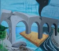 Magisk bro, A.C.Rosmon, akryl maleri, bladguld,