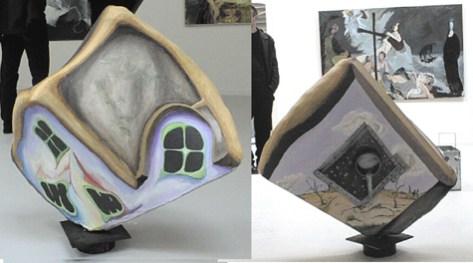surrealisme, skulpturelt maleri, hus/landskab, 3-D