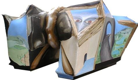 pakken,A.C.Rosmon, surrealisme, skulpturelt maleri,3-D,ulv