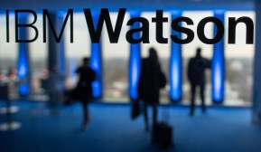 epa05070078 The lettering 'IBMWatson' is seen on a window panel in the IBMoffices at the Highlight Towers inMunich,Germany, 15 December 2015. Technology corporation IBM opens its worldwide headquarters for its 'Watson IoT' (Internet of Things) division inside the Highlight Towers. Artificial intelligence is said to be used to develop new solutions for the IoT. EPA/MATTHIASBALK