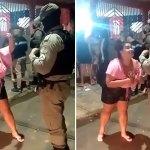 """PM acaba festa e mulher viraliza ao cantar """"Seu Polícia"""" para militares"""