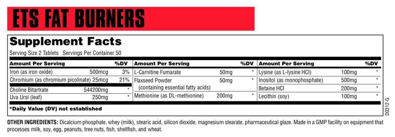 ETS Fat Burner Supplement Facts