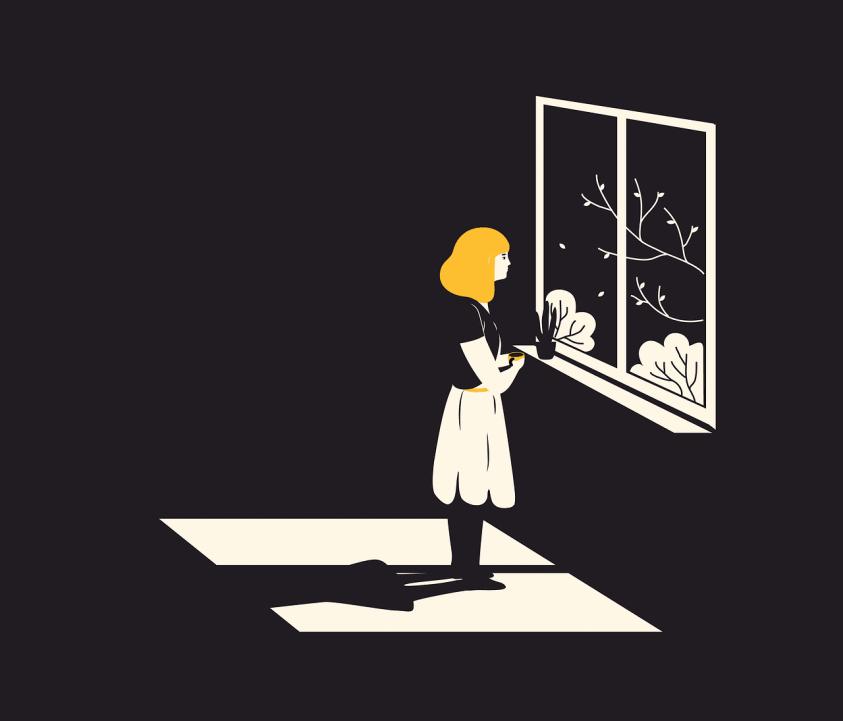 window, girl, alone