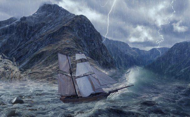 galleon, sea, storm