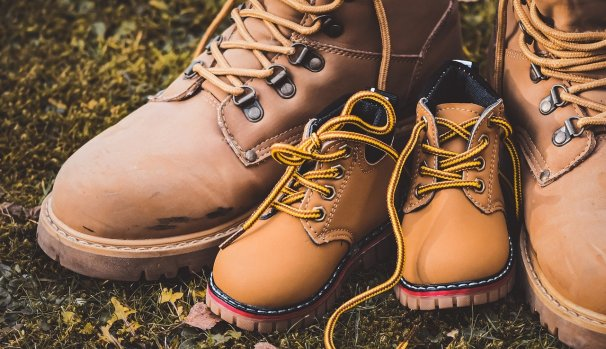 leather hiking boots, kid, adult