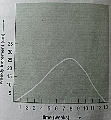 graph of increment in length of stem