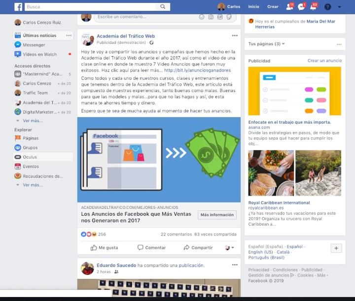 Campaña Facebook Ads