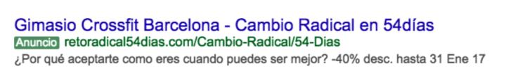 Anuncio google ads gimnasio barcelona