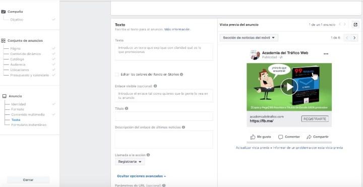 Crea tu anuncio en Facebook Ads